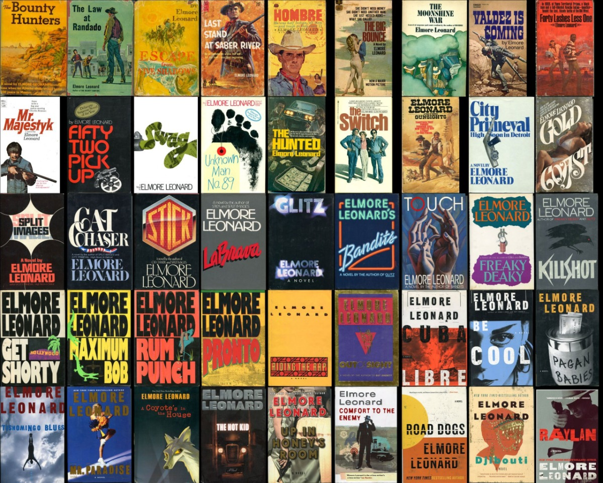 Book Cover Collage Editor : The many covers of elmore leonard black cat moan